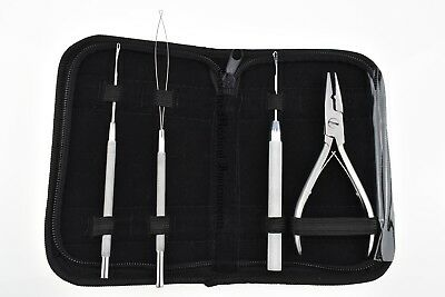 Hair Extension Removal Fitting Silver Pliers Crochet Loop Plier Tools Full Kit