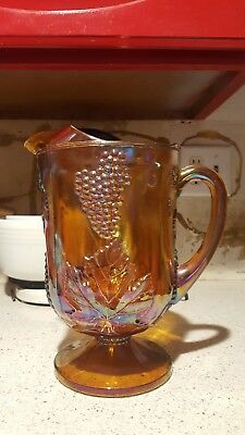 fenton carnival glass grape iridescent pitcher