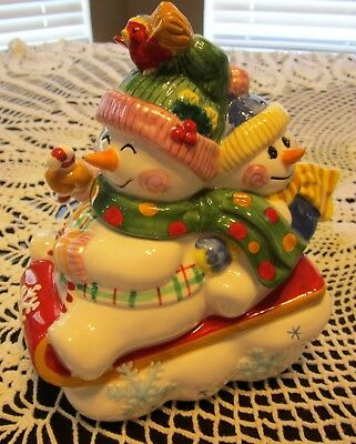 Fitz and Floyd 2005 FROSTY FRIENDS Lidded Box SNOWMAN & Snowboy On Sled #19/2141