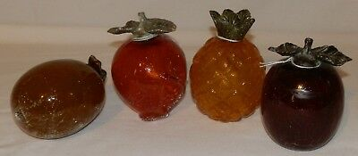 Lot of 4 Vintage Crackle Glass Fruit Pieces with Metal Stems