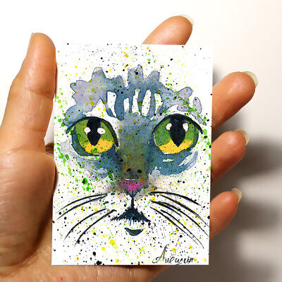 "ORIGINAL ART ACEO Animals PICTURE WATERCOLOR MODERN HAND PAINTING ""Cat"" signed"