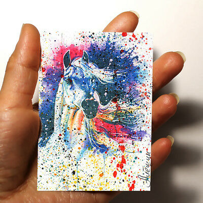 "ORIGINAL ART Animals PICTURE WATERCOLOR PAINTING ""Horse"" ACEO signed by artist"