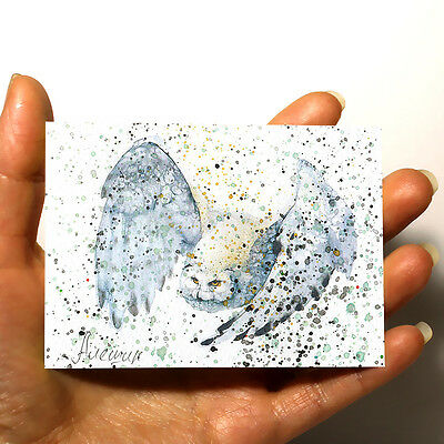 "ORIGINAL MINIATURE ART Animal PICTURE WATERCOLOR PAINTING ""White Owl"" ACEO"
