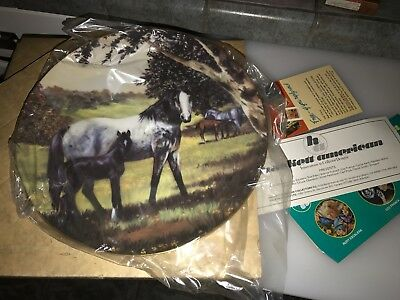"""1982 Violet Parkhurst HORSES IN ACTION """" COUNTRY DAYS """" Plate with Box  i"""
