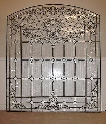 "Leaded And Beveled Clear Stained Glass Panel, Large, Arched, 66.5"" X 76.5"""