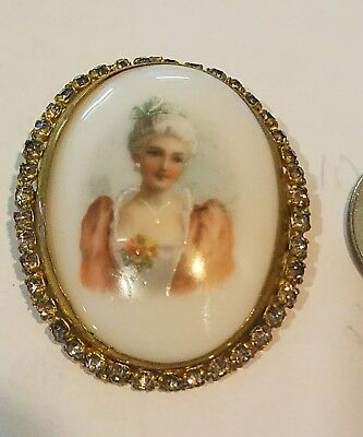 Vintage Hand Painted Porcelain Portrait  Brooch with rhinestones very beautiful
