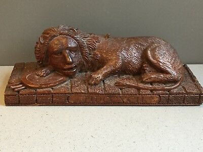 Antique Hand Carved Wooden Primitive Folk Art Sculpture Carving Of Wounded Lion