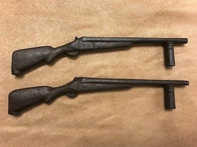 Pair Matching Vintage Cast Iron Rifle Drawer Pulls Cabinet Handles Hunting