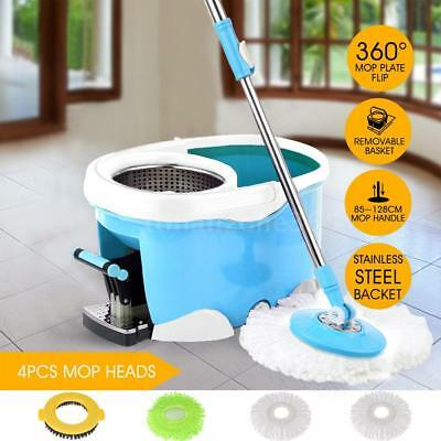 Stainless Steel Rotating Spin Mop Bucket Set Foot Pedal 4 Microfiber Heads S6O7