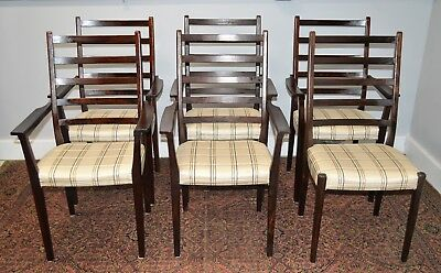 Set OF 6 Mid Century Swedish Ladder Back Svegards Markaryd Walnut Dining Chairs