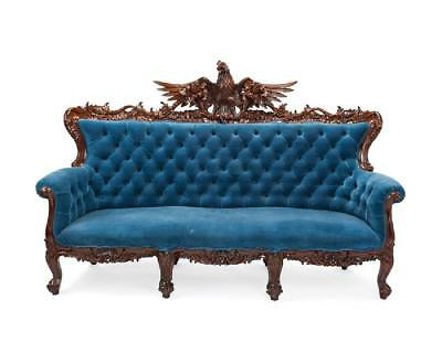 Stunning American hand-carved sofa with Large Carved Eagle, antique