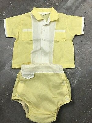 Vintage Yellow Toddler Shirt and Diaper Cover Set by Honeysuckle Trade 18 Months