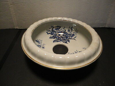 Antique Victorian Slop Jar Cover -  Deep Blue Flowers with Gold Trim