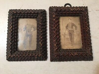 Two Antique Small Tramp Art Frames With Photos Of German Soldiers