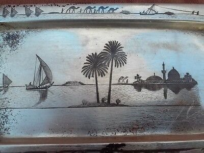 Rare sterling silver Tray Egyptian landscape Design Queen 1/8/31 120 grams Solid