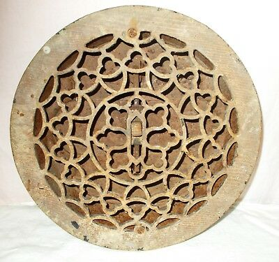 Vintage Ornate Round Cast Iron Floor Register Heat Grate/Vent - With Louvers