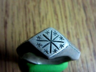 Ancient Roman Silver ring.STARS.