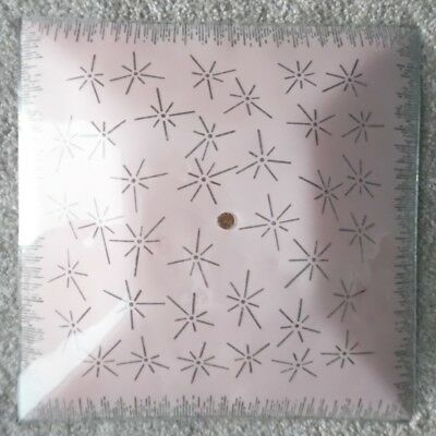 "Vintage 11.5"" Square Pink & White Glass Ceiling Light Cover Shade"