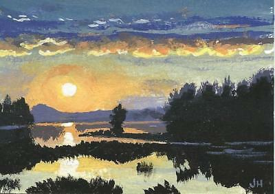 "Aceo original acrylic painting, ""Lakeside Sunset"" trees,landscape art by Hutson"