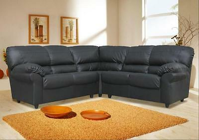 New Candy Corner L Shaped Sofa Faux Leather Black Brown Armchair Available