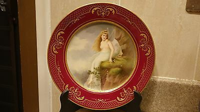 Beautiful 19th Century Royal Vienna Portrait Plate Charger Nude Girl Wagner