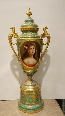 Enormous 19th Century Royal Vienna 24 Inch Portrait Vase Tons of Shiny Gilding