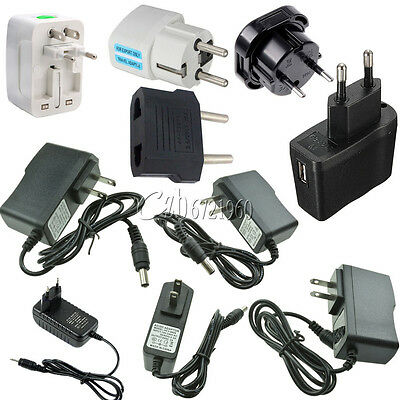 EU/US/UK Plug AC 100-240V to DC 12V 9V 5V 1A 2A Power Supply Converter LED Light