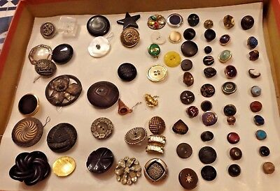 74 Vintage Antique Buttons Lot Glass Plastic Rhinestone Metal Portraits