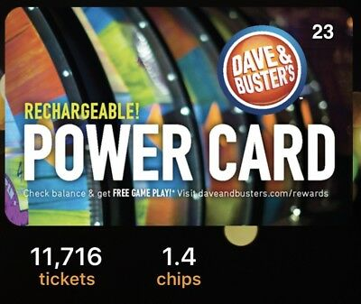 Dave And Busters Power Card With 11,716 Tickets