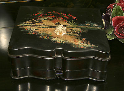 Antique Japanese Asian Black Lacquered Art Deco Wooden Chinoiserie Jewelry Box