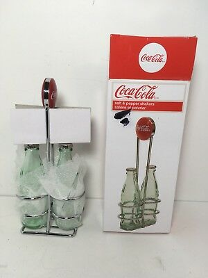 TableCraft Coca-Cola / Coke Bottle Salt & Pepper Shakers Wire Caddy