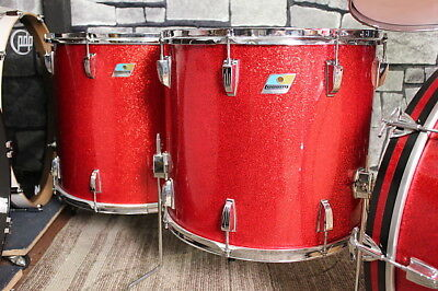 20 x 18 Vintage Red Sparkle ludwig floor tom Tom. RARE Blue Green logo