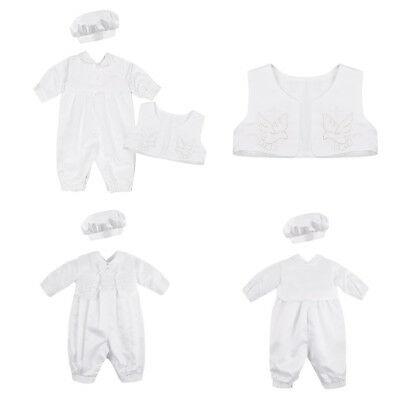 New Baby Boys Baptism Christening Outfit Formal Suit Vest Hat Birthday Party Set