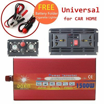 1500W Watt Power Inverter Max 3000W DC12V-AC 240V CAR CAMPING Plug 1.96ft Cable