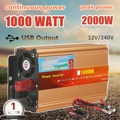 1000W Watt Power Inverter Max 2000W DC12V-AC 240V CAR CARAVAN CAMPING Plug Cable