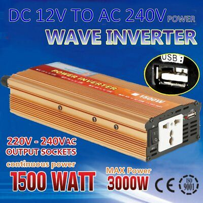 1500W Watt Power Inverter Max 3000W DC12V-AC 240V CAR CARAVAN CAMPING Plug Cable