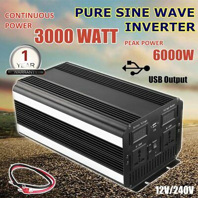 3000W Watt Max 6000W Large Shell Pure Sine Wave Power Inverter 12V - 240V Cable