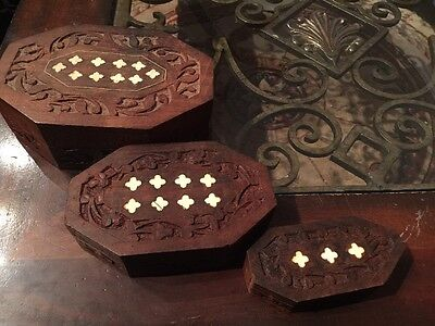 Vintage Hand Carved Wood Jewelry Trinket Boxes  Inlay Inlaid India