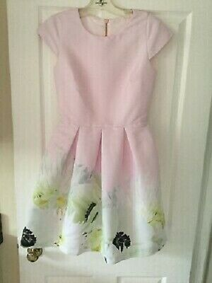 TED BAKER BABY PINK Pearly Petal Adaliia satin dress Size TED 1 US 4 UK  $335