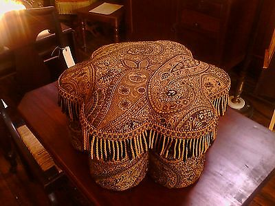 "Victorian  ""Turkish Corner"" footstool/ottoman Paisley with fringe . Exotic"