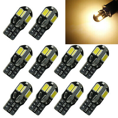 10x Canbus T10 194 W5W 5730 8 LED SMD Warm White Car Side Wedge Light Bulbs