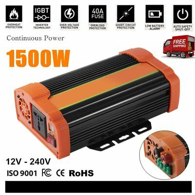 1500W Power Inverter DC12V to AC240V 5V/4.8A USB Port + Car Battery Charger LN