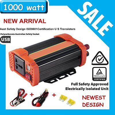 Eletronic Power Inverter 800W 1000W 12V-240V Camping Household w/ USB cable LN