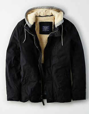 NEW  Mens American Eagle Outfitters AE WAXED COTTON WORKWEAR JACKET Coat Black L