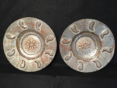 PAIR MIDDLE EASTERN ANTIQUE ISLAMIC Ottoman EGYPT COPPER BOWLS HAMMERED MARKED