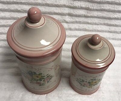 2 Vintage Italian Hand Painted Pottery Canister WIth Lid Rose Pink Made in Italy