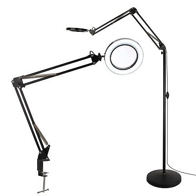 Magnifying Floor Lamp with Utility Clamp Cool White Warm White Bright Black New