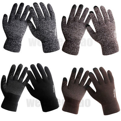 Men Male Cold Winter Warm Fleece Knitted Gloves lined Thermal For Touch Screen