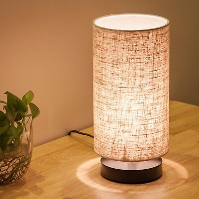 Table Lamp Bedside Nightstand Simple Desk Fabric Wooden Table Lamp Cylinder New