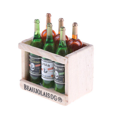 6 Wine Juice Bottles With Wooden Miniature Kitchen Drink Toy Dollhouse Gift BDAU